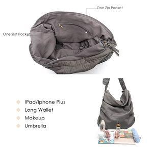 Image 3 - CEZIRA Big Soft Casual Women Bags Girl Wash PU Leather School Handbag Ladies Adjustable Woven Buckle Belt Messenger&Shoulder Bag