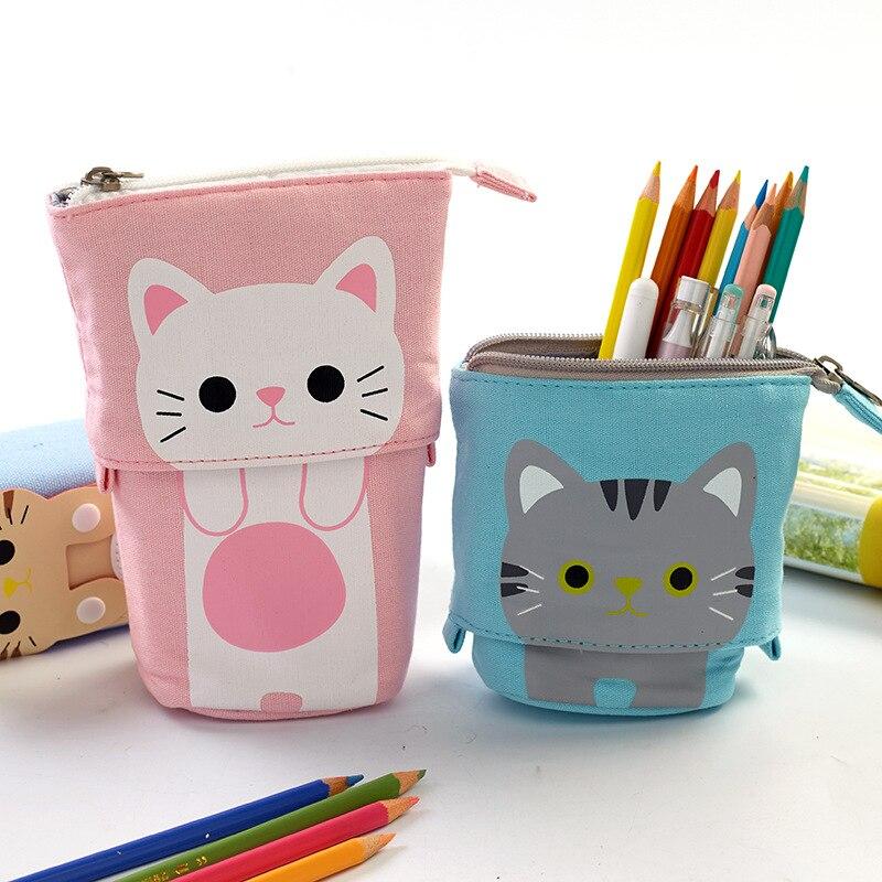 Cute Multifunctional Pen Pencil Bag Case Cartoon Cute Cat Bear Sheep Canvas Fold Standing Pen Holder Stationery Organizer Gift