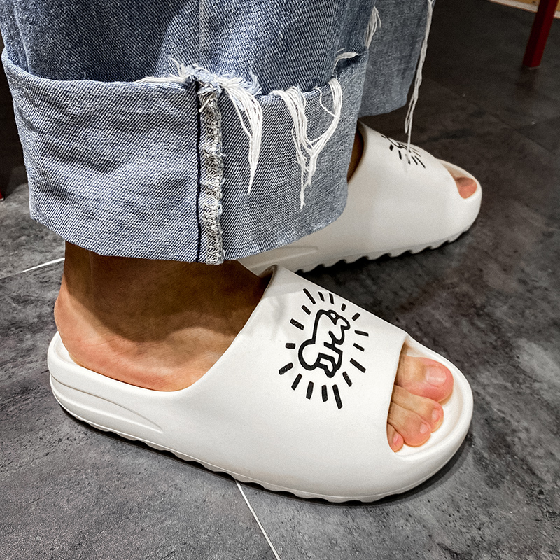 WEH sleepers shoes men 2020 Brand Slide Slippers Men Indoor Soft Men's home slippers Beach Flip Flops Flats Graffiti Shoes Man