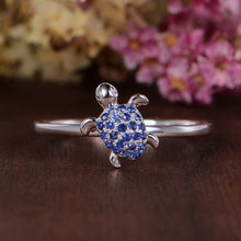 2019 hot selling charm S925 silver fashion trend new creative sapphire inlaid turtle ring European and American banquet(China)