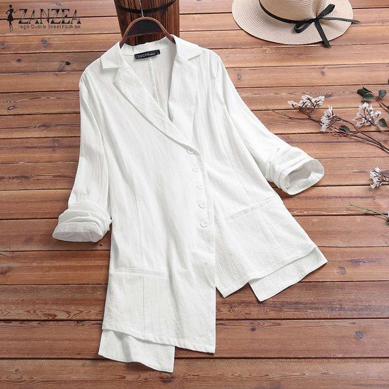 2020 Fashion Women's Blazers ZANZEA Ladies Casual Long Sleeve Blazer Office Party Outwear Elegant Solid Jackets Chaqueta Mujer