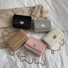 цена на Winter ladies luxury faux fur tote bag designer female gold buckle Messenger bag brand chain shoulder bag fashion plaid handbag