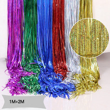 1M 2M  Rose Gold Shimmering Fringe Tinsel Door Curtains Metallic Foil Party Photo Backdrop Wedding Birthday Pub Stage