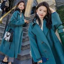 Женское шерстяное пальто с длинным рукавом Зимняя Толстая куртка