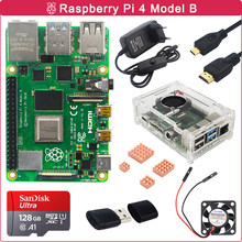 Zestaw Raspberry Pi 4 Model B 2GB/4GB/8GB RAM + radiator + wentylator chłodzący + przełącz zasilanie + karta SD 32/64/128GB dla RPI 4