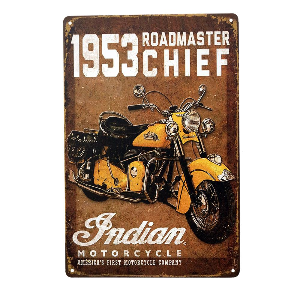 Flags vintage 1953 roadmaster chief indian motorcycle painting metal metal tin <font><b>sign</b></font> <font><b>framed</b></font> wall art Metal Painting Tin <font><b>Sign</b></font> Wall image