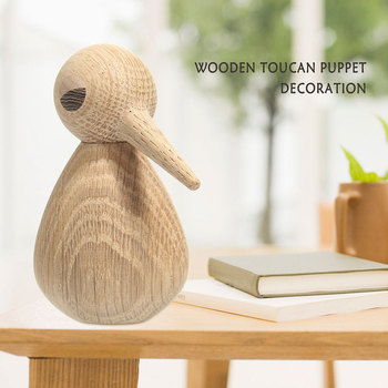 New Home Decoration Cuspirostrisornis wooden Bird Wood Stump Bird  Decorative Dtatue  Handmade Wooden Puppet Bird