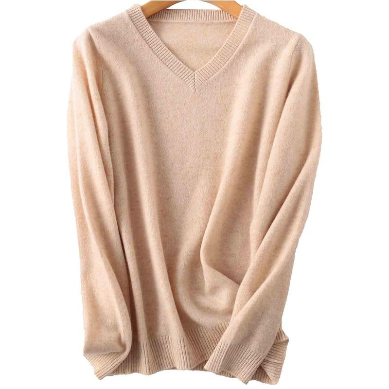 100% Merino Wool Women V-Neck Sweater 2020 Autumn Winter Warm Soft knitted Pullover Femme Jumper Women Cashmere Sweater 7