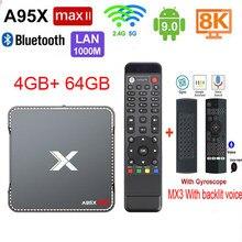 Novo a95x max ii amlogic s905x3 android 9.0 caixa de tv 4gb 64gb 1000m wifi 2.4/5.0g bt4.2 a95 max x3 caixa de gravação de vídeo android tv