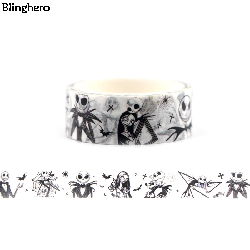 Blinghero The Nightmare Before Christmas Washi Tape 15mmX5m Decals Masking Tape Adhesive Tapes Cartoon Decorative Tapes BH0055