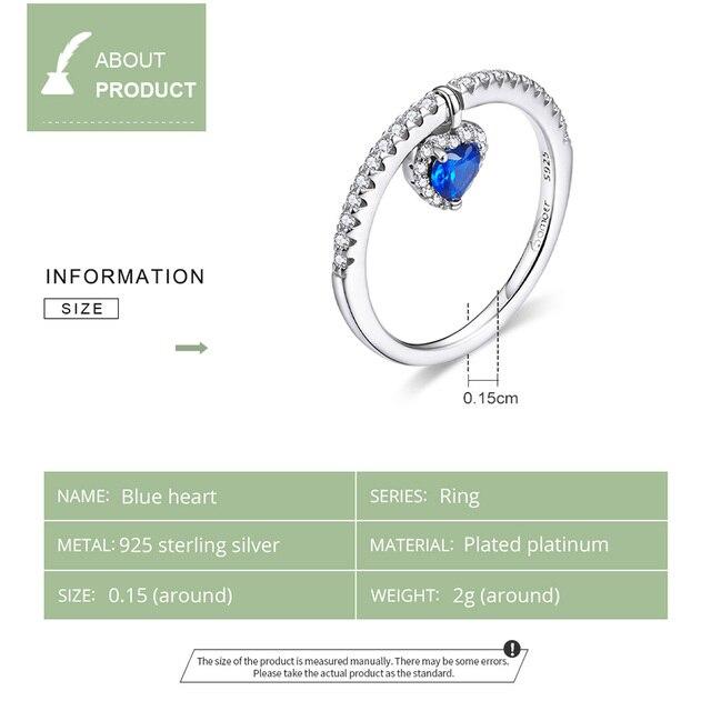 Blue Heart CZ Ring