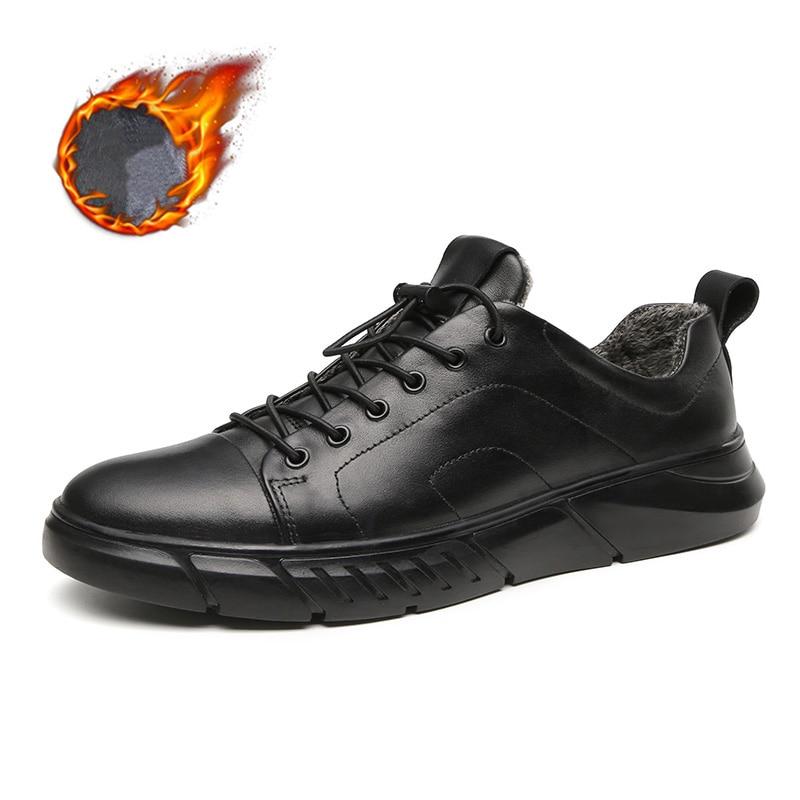 Zapatillas De invierno De Cuero para Hombre Zapatos planos genuinos para Hombre Zapatos De otoño para Hombre Casuales Cuero Real Sepatu Pria Kulit Asli