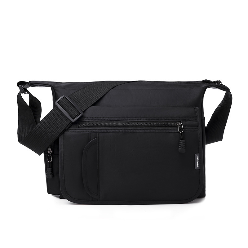 Ougger Medium Briefcases For Work Bags Handbags Black Canvas Fashion Casual Men's Shoulder Bags For Business