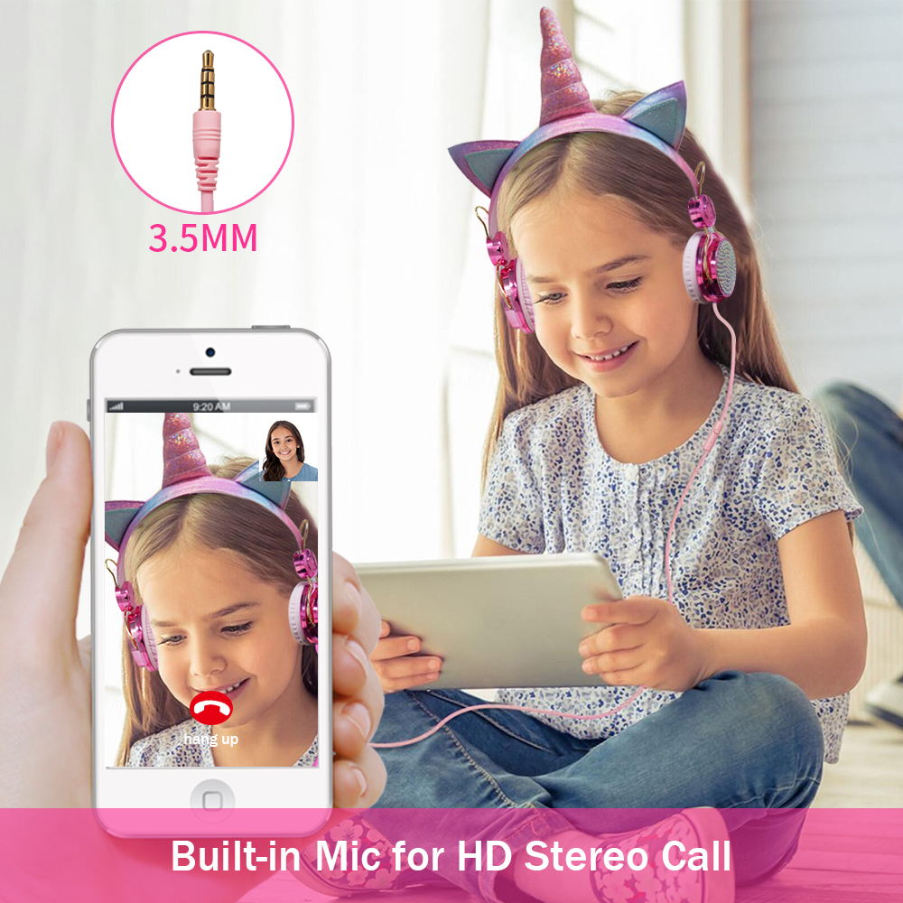 cheapest Cute Kids Girl Unicorn Headphone With Microphone Bling Bling Diamond Wired Headphones Mobile Phone Computer Gamer Headset Gifts