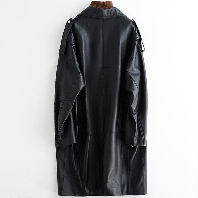 Nerazzurri surdimensionné noir long printemps femmes veste en cuir à manches longues goutte épaule fermeture éclair grande taille en vrac faux cuir manteau 6