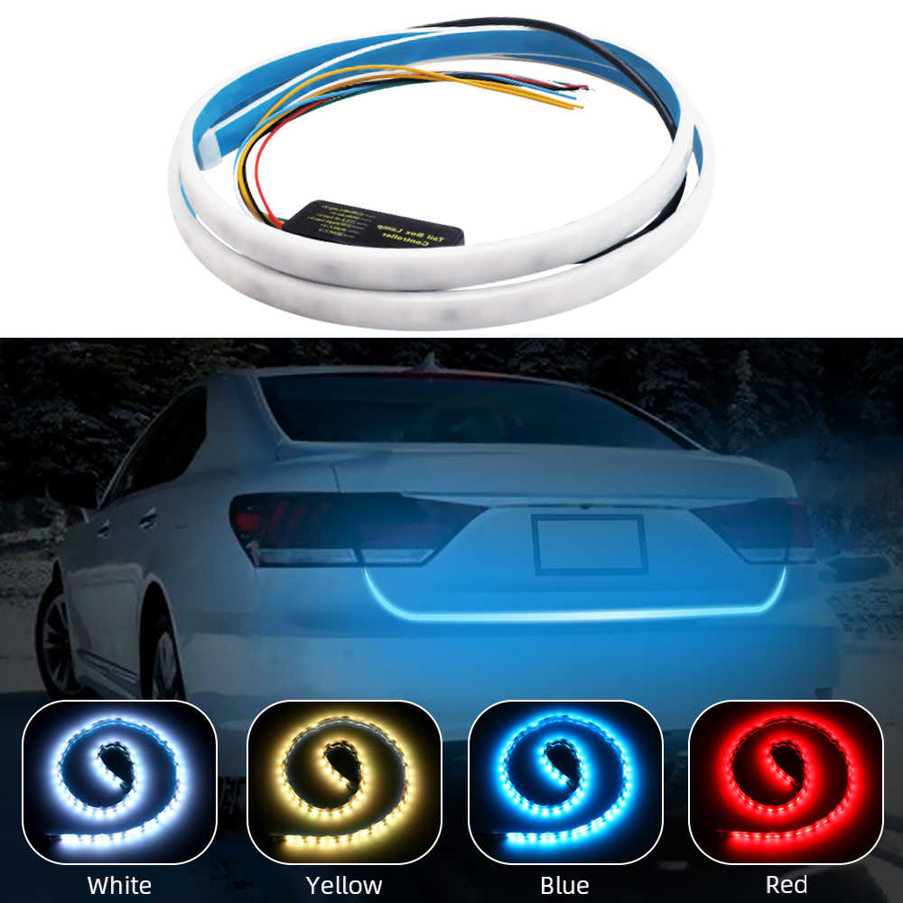 Car Additional Stop Light Dynamic Streamer Floating LED Car Tailgate Strip Brake Driving Turn Signal Light Tail Flasher Lights
