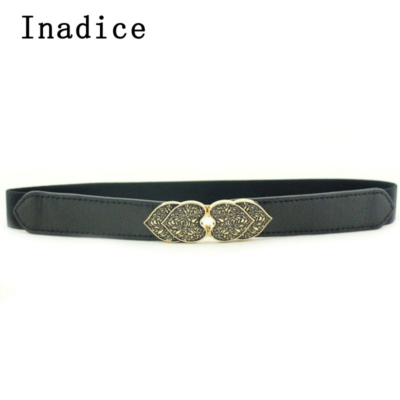 Inadice 2019 New Retro Double-Layer Peach Buckle Belt Ladies Dress Belt Clothing Accessories Thin Belt Elastic Belt