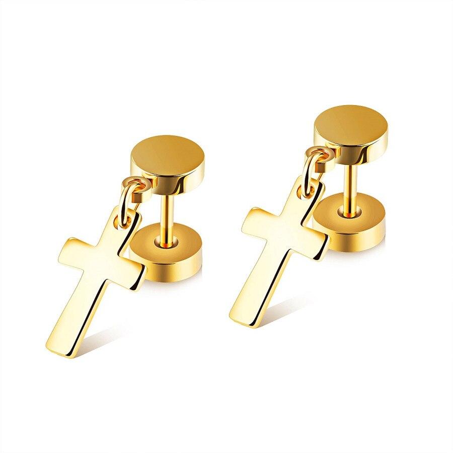 FATE-LOVE-Unisex-Women-men-Cross-Stud-Earrings-boy-girl-Fashion-Jewelry-white-Black-gold-color (2)
