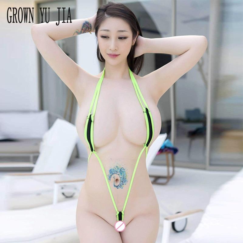 Sexy Micro Bikini Extreme Erotic Three-point Monokini Halter Neck Micro Teardrop Thong Bikini Bodysuits Porno Lingerie Swimwear