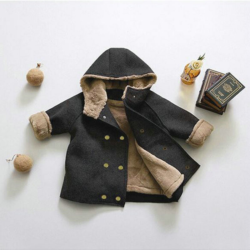 WLG Boys Winter Wool Coats Kids Velvet Thick Hooded Long Style Outerwear Baby Boy Fashion Warm Clothes