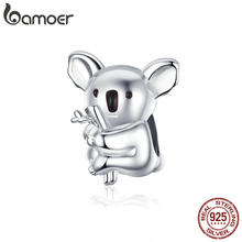 Bamoer Zoo Collection Koala Panda ours breloque en argent Sterling 925 animaux en métal perles pour Original serpent Bracelet Bijoux BSC093(China)
