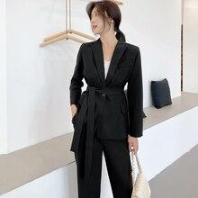 Mozuleva Elegant Women Pant Suits One-button Blazer Jacket & Ankle-length Pants