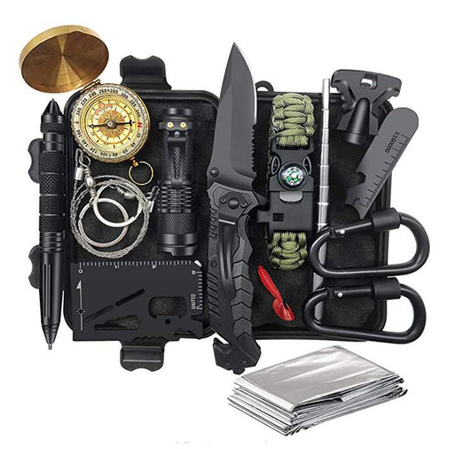 Emergency Survival Kit Survival Gear First Aid Kit SOS Tactical Tool Flashlight with Molle bag Suitable for Camping Adventure 3