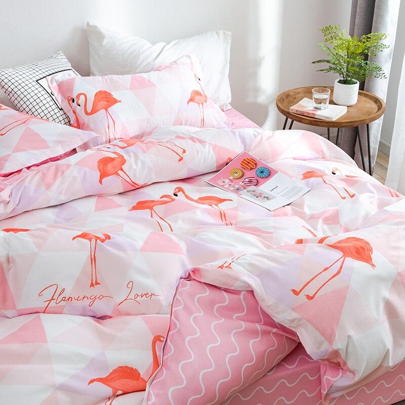 Style de bande dessinée ensemble de literie oiseau rose 4 pièces lit roi reine taille linge de lit taie d'oreiller housse de couette ensemble Textiles de maison literie # sw - 4