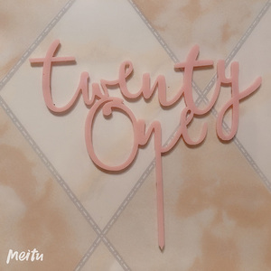 Image 4 - Dwadzieścia jeden z okazji urodzin akrylowy Topper do ciasta litery numer 21 akrylowy Cupcake Topper na 21 urodziny na przyjęcie do tortu dekoracje