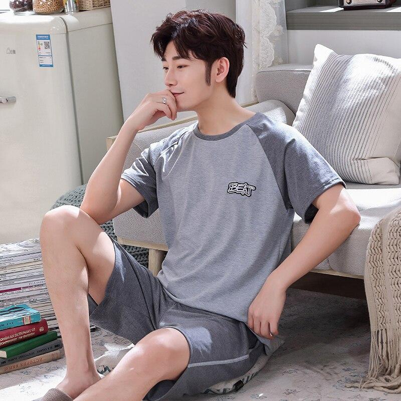 Summer Mens Pajamas 100%Cotton Letter O-Neck Cartoon Pajama Sets Short-sleeve Casual Men Pyjamas Plus Size L-XXXXL Pijama Hombre
