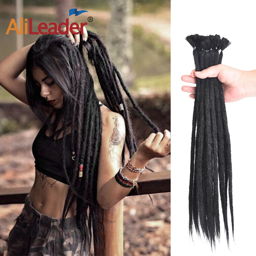 AliLeader 20inch Handmade Dreadlocks Crochet Braid Hair Extensions For Women/Men Pink Blue Ombre Synthetic Crochet Hair 1Root