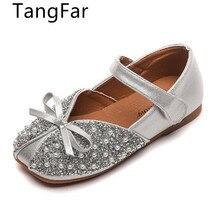 Baby Shoes Princess Loafer Rhinestone Black Girls Children Pearl Bowknot Soft-Bottom