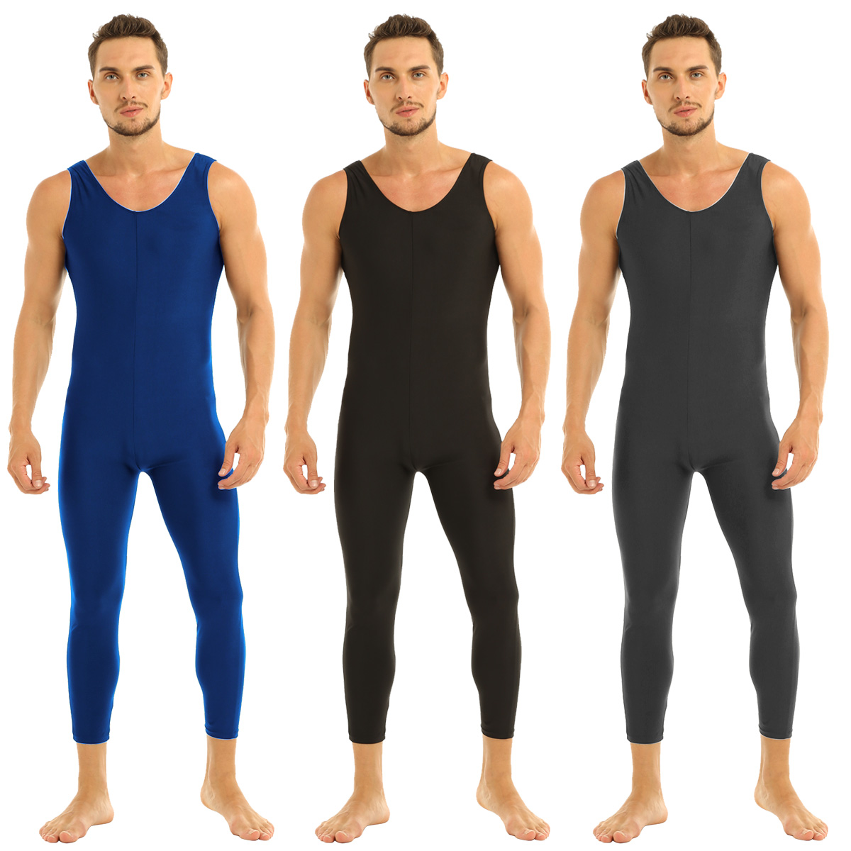 Men Sleeveless Leotard Bodysuit Lycra Tights Leggings for Ballet Dance Vest Teddy Sports Unitard Catsuit Male Dancewear Jumpsuit 13