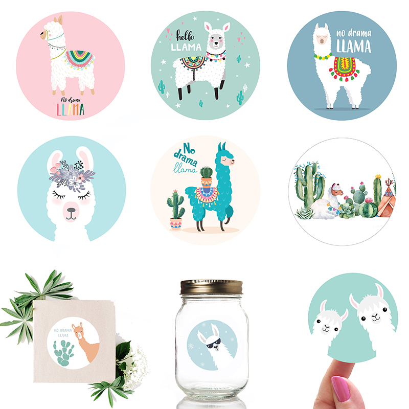 Llama Cactus Stickers Adhesive Stickers DIY Decoration Cartoon Cute Alpaca Birthday Mexican Party Decoration Sticker Supplies