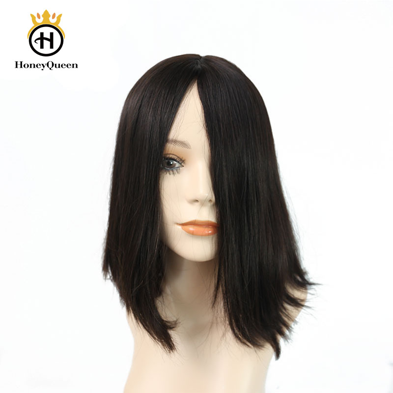 Jewish Wig Silk Base Kosher Wigs European Human Hair For Women Color #4 Honey Queen Remy Bob Style Hair Wig Double Drawn
