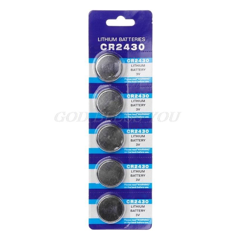 5 шт., Кнопочная батарея CR2430 3 в, электронные литиевые элементы питания DL2430 BR2430 ECR2430 KL2430 EE6229, часы, игрушки, наушники