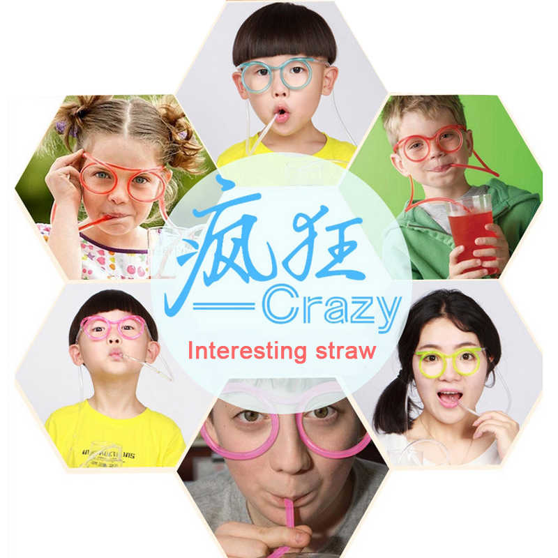 1PC Lembut Menyenangkan Sedotan Plastik Kacamata Lucu Fleksibel Minum Mainan Pesta Lelucon Alat Tabung Anak-anak Pesta Ulang Tahun Bayi Lucu gadget