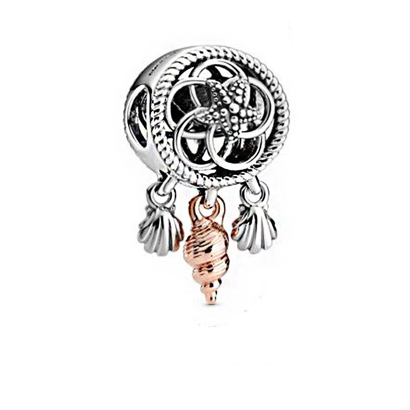 2020 New Summer 925 Sterling Silver Openwork Seashell Dreamcatcher Charms Beads Fit Original Pandora Bracelets Women DIY Jewelry