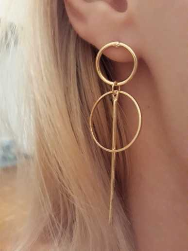 EK346 Gold Silver Color Big Circle Drop Earrings for Women Geometric Round Brincos Steampunk Style Women Party Jewelry