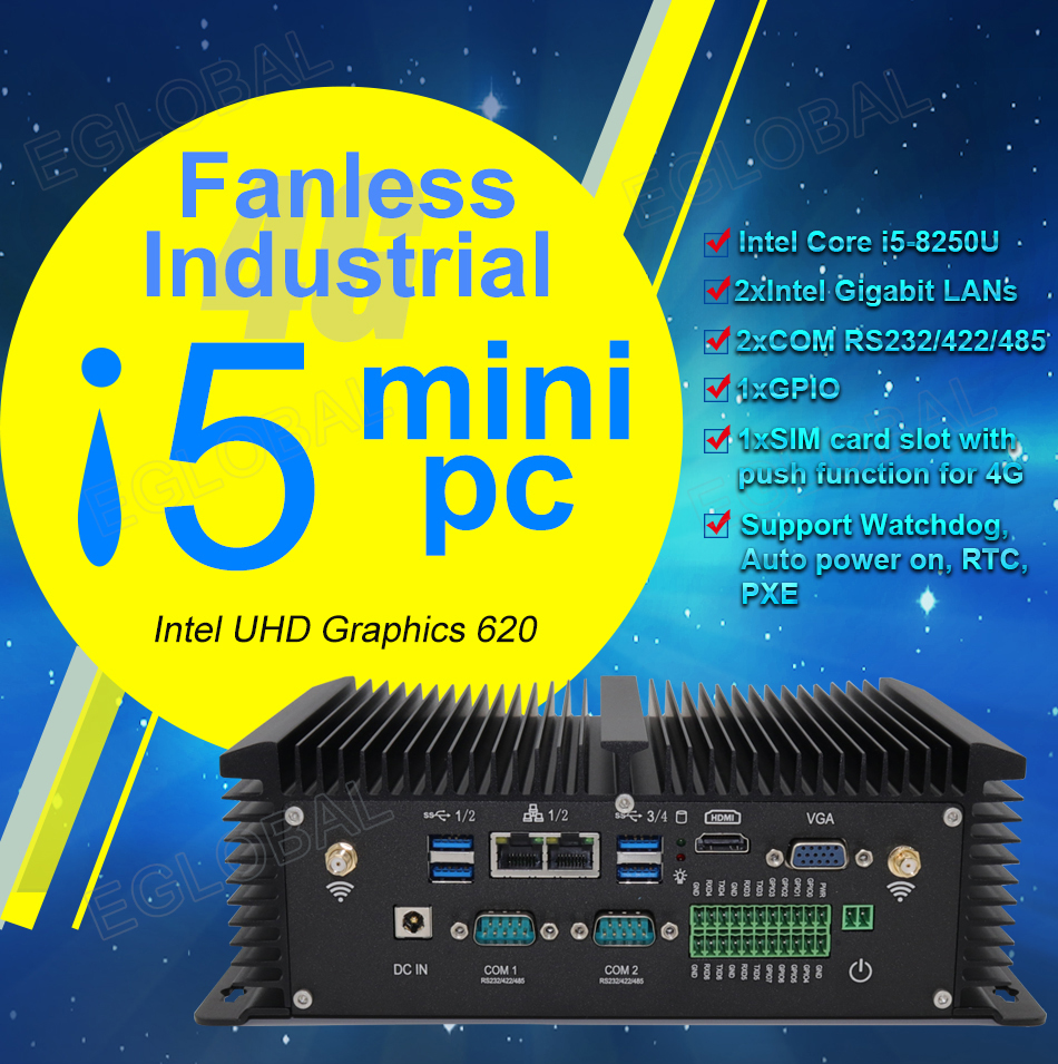 Industrial Mini PC Intel Core I5 8250U I7 7500U Barebone System 3G/4G SIM 2 RS485 COM GPIO 2 RJ45 Lan 8 USB Wifi Bluetooth