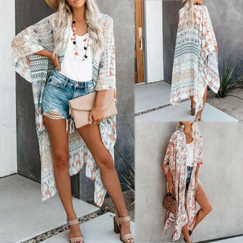 Floral Women Cardigan Chiffon Blouse Tops Kimono Vintage BOHO Loose Beach Shawl