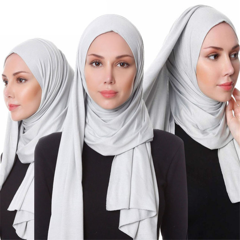 Muslim Women Cotton Jersey Scarf Hijab Turbante Islamic Headscarf Foulard Femme Musulman Shawls Arab Wrap Head Scarf Hoofddoek