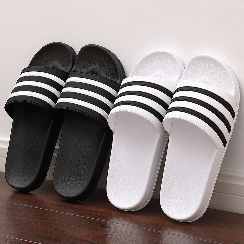 Men's Slippers 2020 Women Mens Slides Couple Flip Flops Soft Black And White Stripes Casual Summer Shoes Male Chaussures Femme