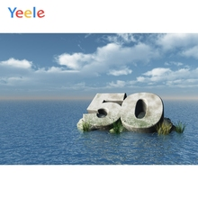 Yeele 50th Birthday Photocall Decor Seascape Island Photography Backdrops Personalized Photographic Backgrounds For Photo Studio