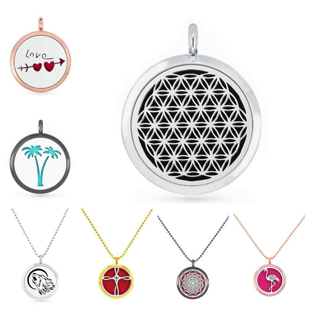 New Flower of life 30mm Silver/Rose Gold/Gold/Black Color Essential Oil Diffuser Locket pendant necklace