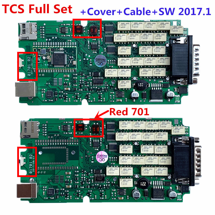 Full Set  A+ Quality Red 701 OBDIICAT TCS PRO Green Relays Single PCB Board Multidiag MVD New Vci With BT 2016R1+Keygen/2017.1