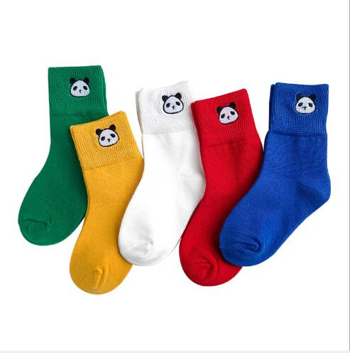 Autumn And Winter Panda Embroidery Child Socks 1-12 Year 5 Pairs Pack Wholesale Children's Socks