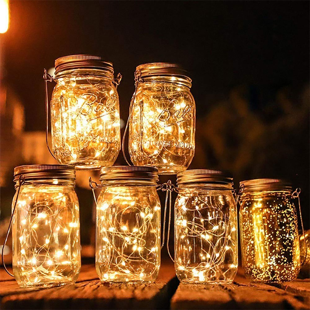 Christmas Solar Led Strings Mason Jar Hanging Lights 20 LED Lights String Fairy Starry Lights For Wedding Garden Xmas Home Decor