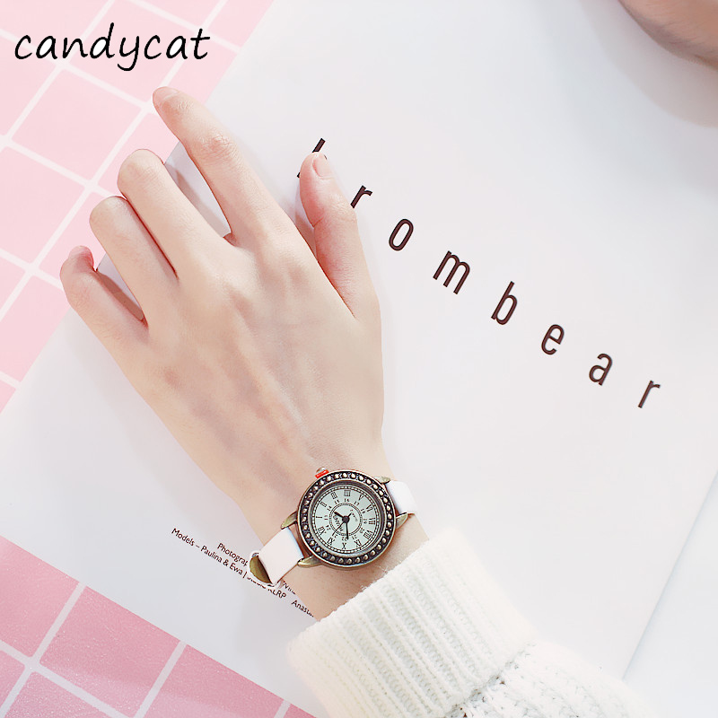CandyCat Watch Korean Fashion Simple Roman Numerals Small Dial Retro Literary Female Student Belt Quartz Watch Couple Watch