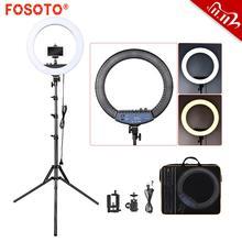 Кольцевой светильник FOSOTO RL 18II, 18 дюймов, фотографический светильник, кольцевой светильник 512 шт., светодиодный кольцевой светильник со штативом для камеры, телефона, макияжа